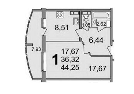 Продаётся 1-комнатная квартира, 44 м²