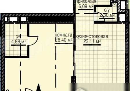 Продаётся 1-комнатная квартира, 62.7 м²