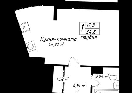 Продаётся студия, 34.8 м²
