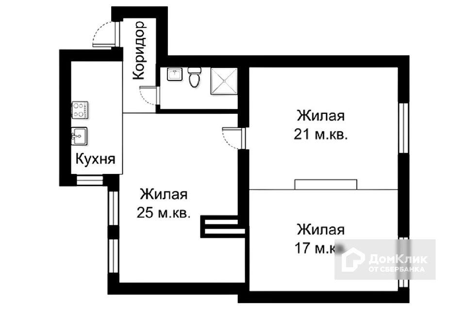 Продаётся 2-комнатная квартира, 80 м²