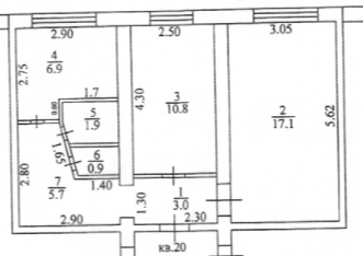 Продаётся 2-комнатная квартира, 46.3 м²