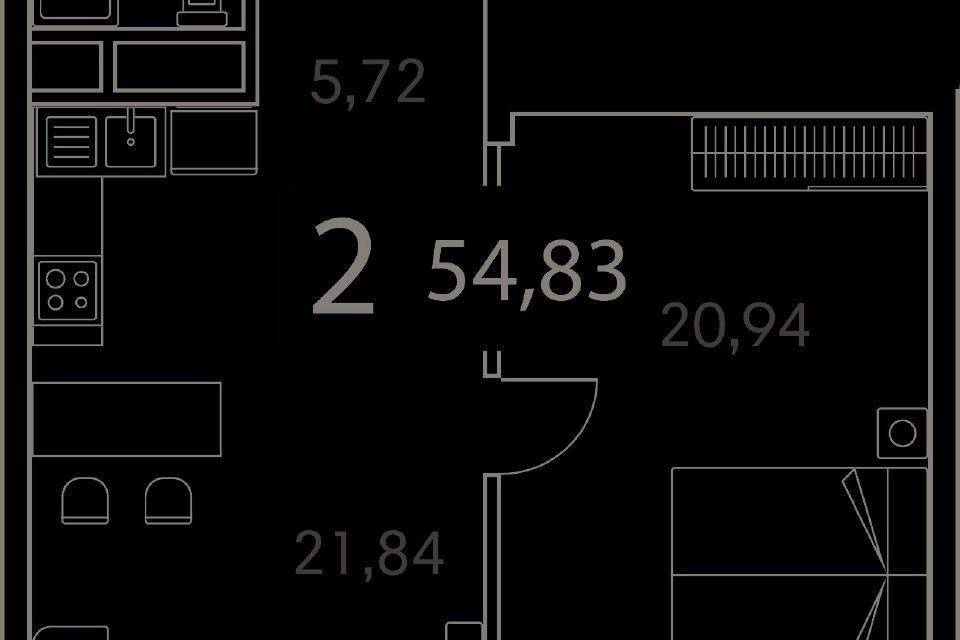 Продаётся 2-комнатная квартира, 54.8 м²