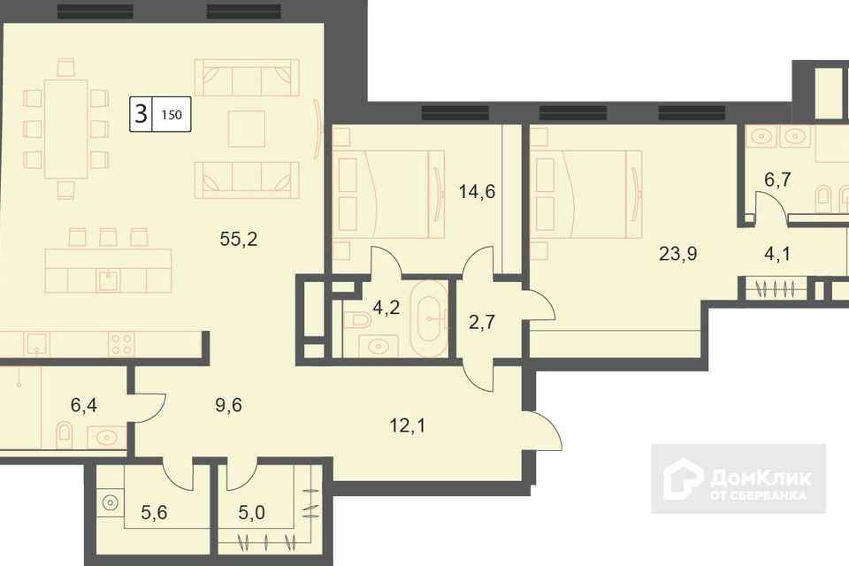 Продаётся 3-комнатная квартира, 150.2 м²