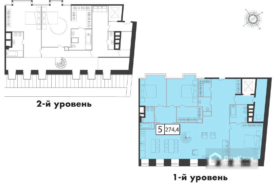 Продаётся 5-комнатная квартира, 274.4 м²