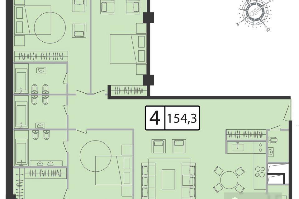 Продаётся 4-комнатная квартира, 154.3 м²