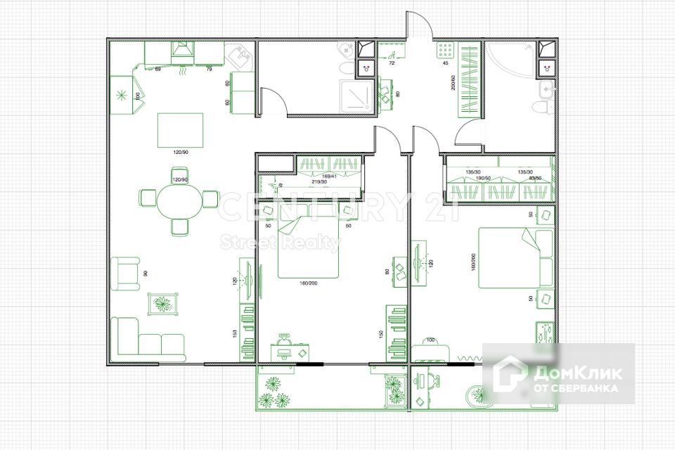Продаётся 2-комнатная квартира, 95 м²